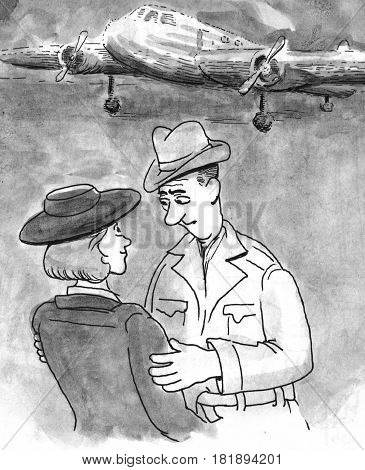 Cartoon illustration of a couple saying farewell at an airport.