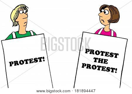 Political cartoon about a woman protesting the protest.