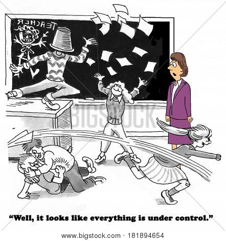 Education cartoon about children misbehaving in class, the class is not under control.