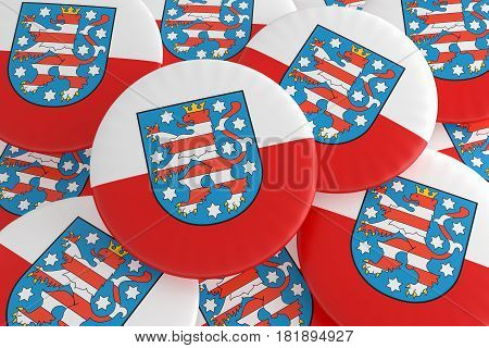 German States Badges: Pile of Thuringia Flag Buttons 3d illustration