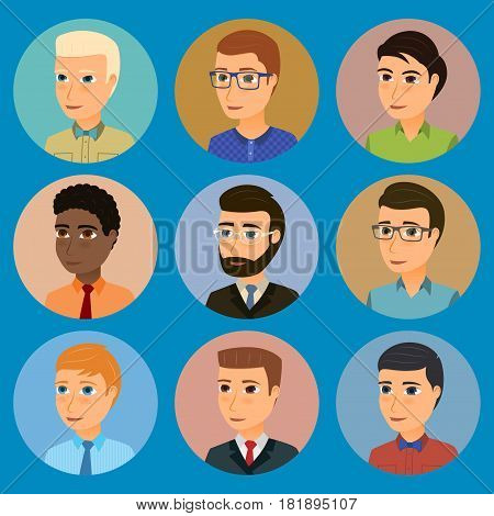 Collection of avatars of various young men characters. Vector cartoon set.