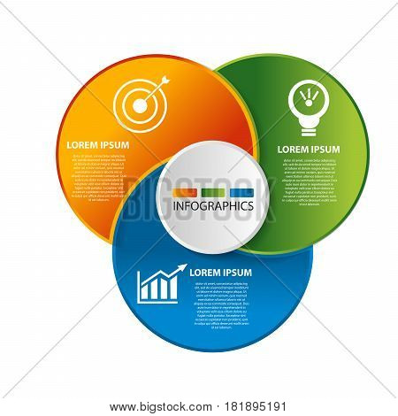Vector Illustration. Template With 3 Colored Geometric Shapes Circles For Infographics, Business, Pr