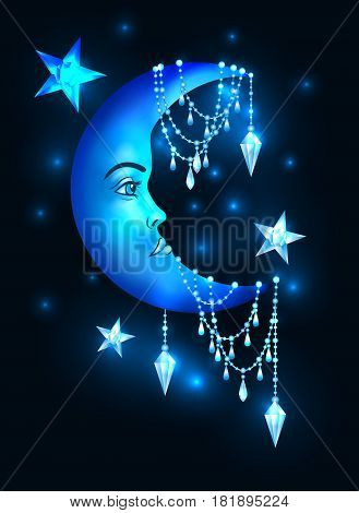 Half moon with human face and stars