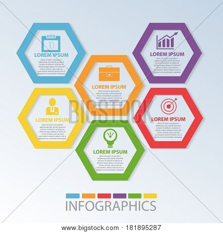 Vector Illustration. Template With 6 Color Geometric Figures Hexagons For Infographics, Business, Pr