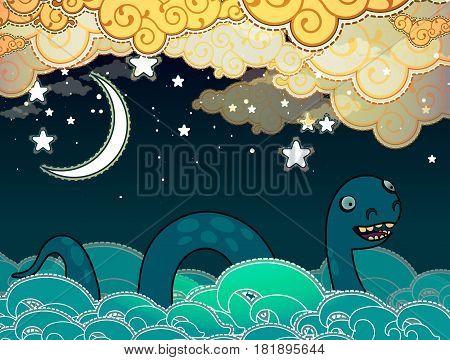 Cartoon style Loch Ness monster swimming in water