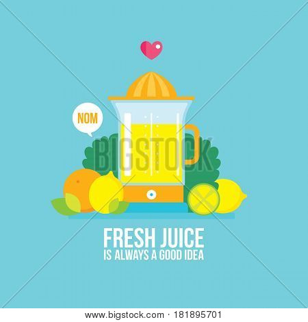 Juicer Fresh vegetables greens and fruits Colorful Food banner Vector illustration