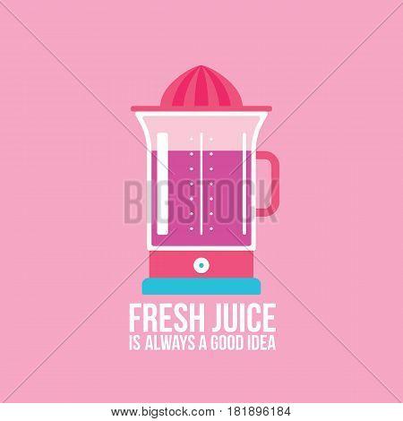 Colorful juicer on pink background Kitchen appliance Vector illustration