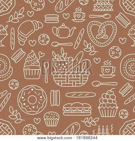 Bakery seamless pattern, food vector background of brown, white color. Confectionery products thin line icons - cake, croissant muffin, pastry, cupcake, pie. Cute repeated illustration for sweet shop.
