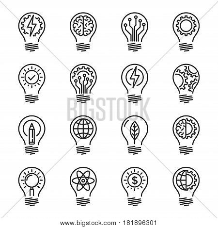 Idea intelligence creativity knowledge thin line icon set. Editable stroke. Vector illustration.