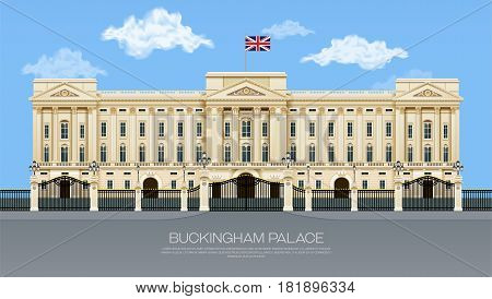 england buckingham palace with cloud mesh gradient object vector illustration