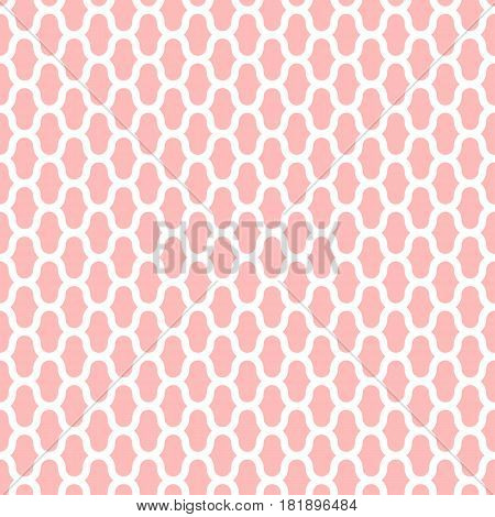 Grid vector seamless pattern, geometric abstract background of pink and white color. Modern simple line ornament. Cute and tender texture for baby fabric.