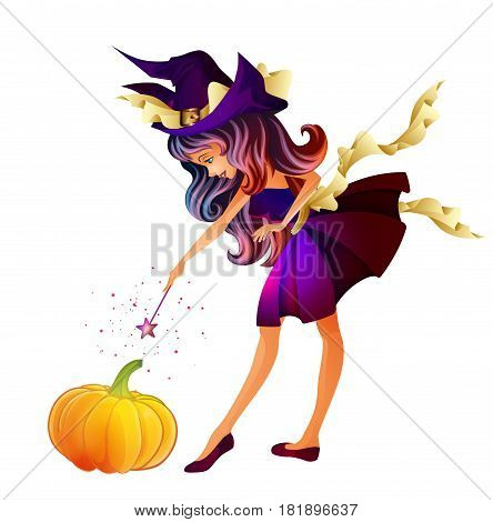 Cute little witch isolated on a white background