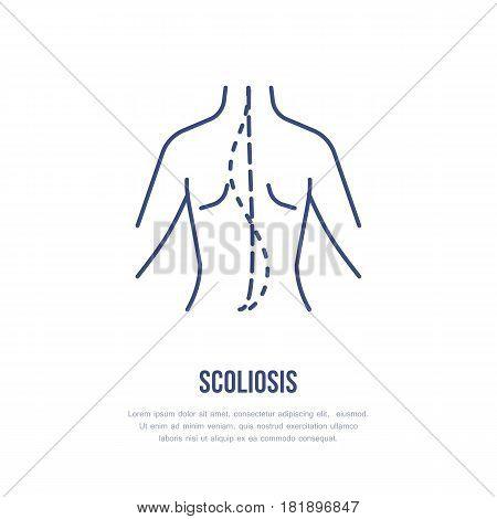 Scoliosis, posture correction icon, orthopedic line logo. Flat medical sign for hospital.