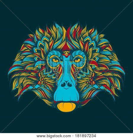 Colorful baboon monkey face doodle isolated on a blue background