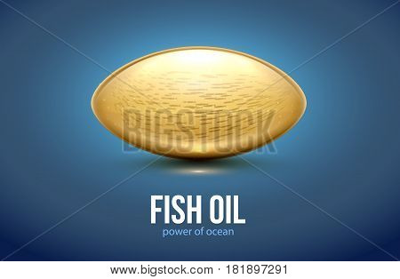 vector illustration of FISH oil capsule tablet 3d realistic object place for text omega 3