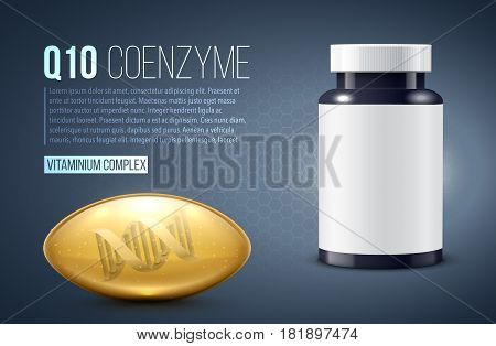 vector illustration of q10 oil drop tablet capsule whit dna realistic 3d object