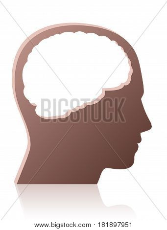 Brainless, mindless, unintelligent, foolish, silly, stupid person, symbolized by a head with a big brain shaped empty hole - isolated vector illustration on white background.