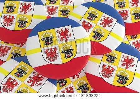 German States Badges: Pile of Mecklenburg-Vorpommern Flag Buttons 3d illustration