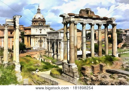 Colorful painting of Temple of Saturn, Roman Forum, Rome, Italy