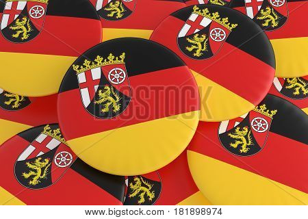 German States Badges: Pile of Rhineland-Palatinate Flag Buttons 3d illustration