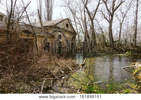 Ancient abandoned boiler room or warehouse, flooded with water, turned into a swamp