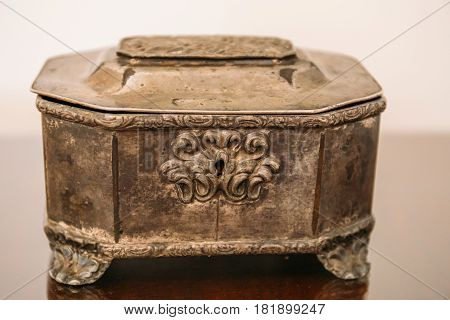 Vintage casket with relief pattern and Keyhole