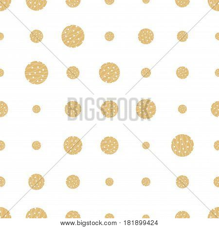 Gold grunge halftone dot seamless pattern. Dotted background. Infinity geometric pattern with round shapes on white. Halftone texture with checkered circles. Dotted texture. Vector illustration.
