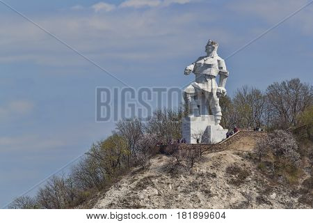 SVIATOHIRSK UKRAINE - APRIL 16 2017: Monument to Artem in Svyatohirsk on April 16 2017. Sculptor Kavaleridze. Perhaps soon to fall under the de-communization and will be demolished.