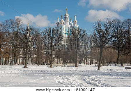 Smolny Cathedral (smolny Convent) View From Smolny Park In Winter, St. Petersburg, Russia