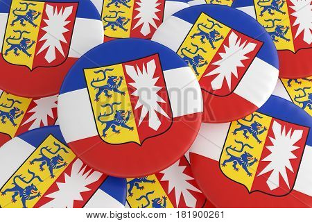 German States Badges: Pile of Schleswig-Holstein Flag Buttons 3d illustration