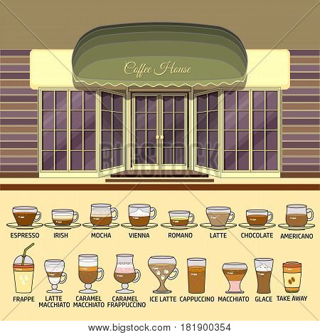 Coffee shop and set of cute various coffee icons. Flat design vector illustration of small business concept. Stylish coffee boutique. Store design template. Can be used street cafe menu, bar, restaurant, poster, banner.