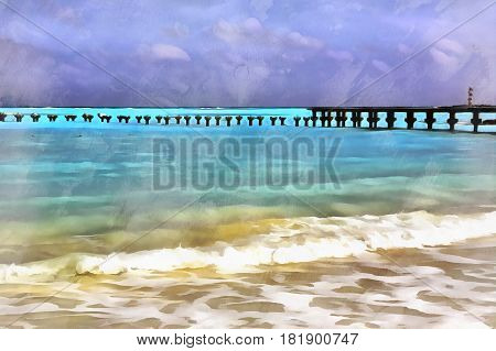 Sea beach landscape colorful painting, Cancun, Mexico