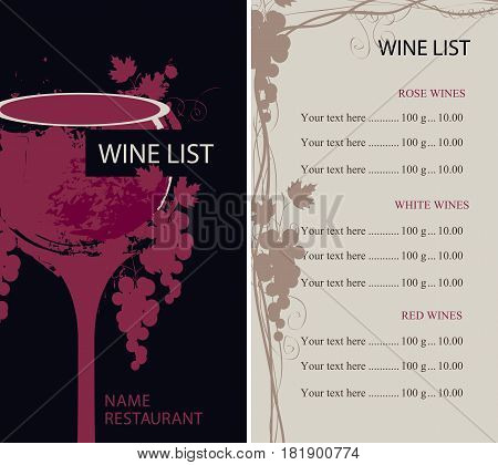 vector wine list with glass bunch of grapes and price list