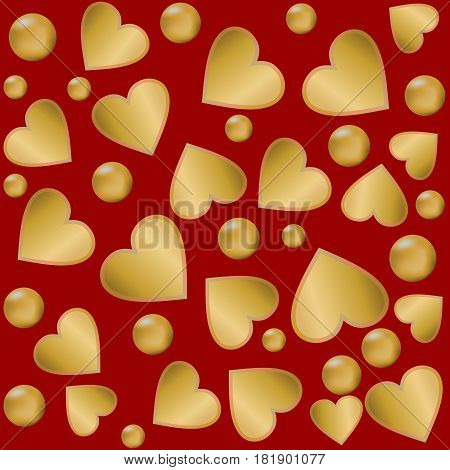 Decorative background with gold hearts and balls on the red background
