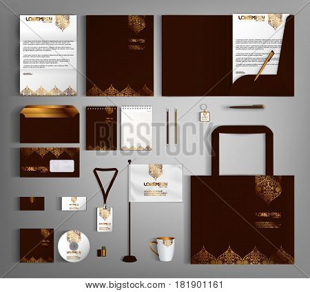 Brown corporate identity template design with gold vintage design elements.  Business set stationery.