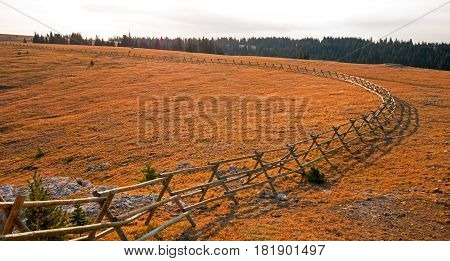 Split Rail Fence above Lost Water Canyon in the Pryor Mountains Wild Horse range on the Montana Wyoming state line USA