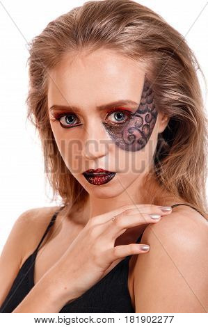 Beauty Portrait Of A Young Girl With A Scales Makeup