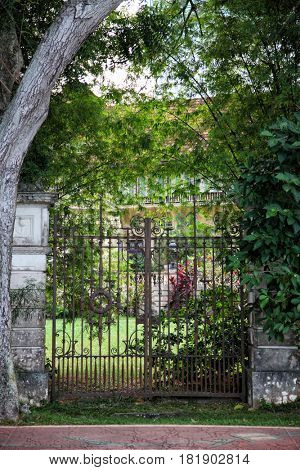Elaborate gates of an abandoned house