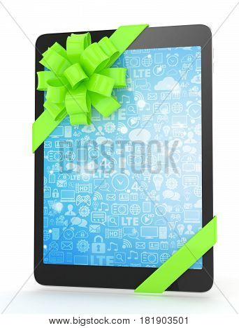 Black tablet with green bow and blue screen. 3D rendering.