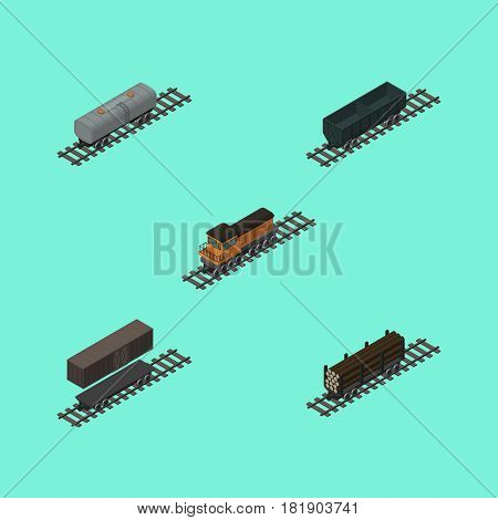 Isometric Railway Set Of Train, Delivery Tank, Carbon Railway Container And Other Vector Objects. Also Includes Railway, Petroleum, Oil Elements.