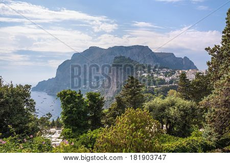 View of Capri Island with luxury villas Campania Italy