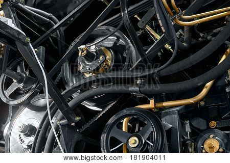 Engine part of an industrial mechanism close up photo