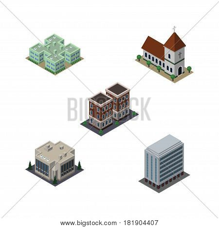 Isometric Building Set Of Office, House, Clinic And Other Vector Objects. Also Includes Office, Company, Building Elements.