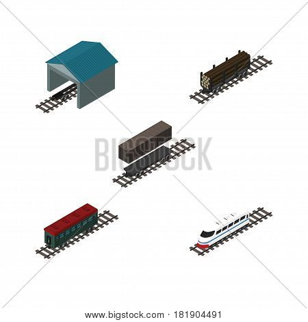 Isometric Train Set Of Subway Vehicle, Underground, Depot And Other Vector Objects. Also Includes Wood, Container, Wagon Elements.
