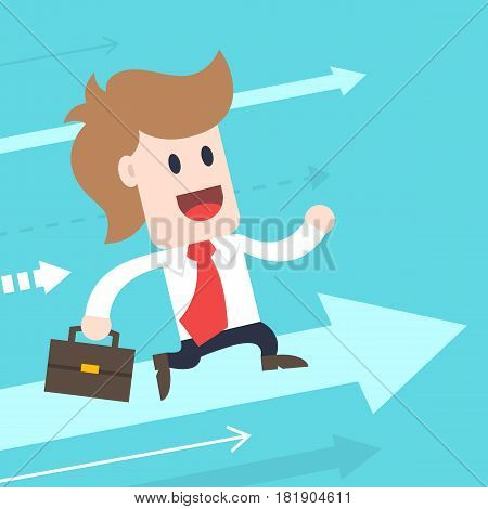 Businessman cartoon character - male wearing shirt and tie running up vector illustration