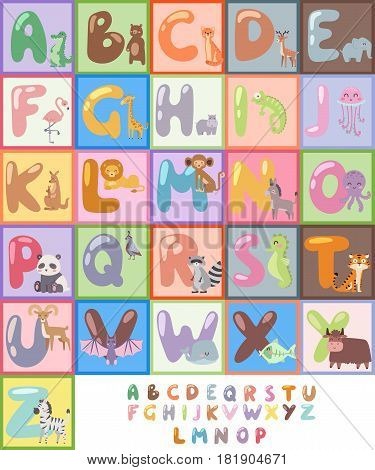 Cute zoo alphabet with cartoon animals isolated and funny letters wildlife learn typography cute language vector illustration. Nature wild study education font.