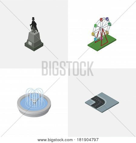 Isometric Architecture Set Of Park Decoration, Recreation, Turning Road And Other Vector Objects. Also Includes Wheel, Path, Road Elements.