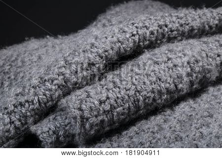 Crumpled Gray Wool Fabric Texture Background.