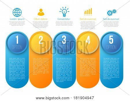 Infographics with 5 steps milestone, colorful blue and yellow bright design, vector template