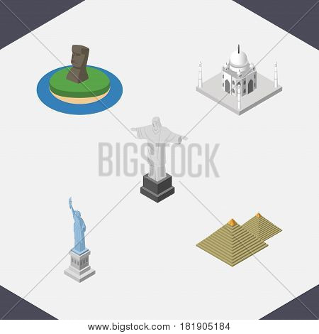 Isometric Architecture Set Of Egypt, India Mosque, Chile And Other Vector Objects. Also Includes MoAI, America, Mahal Elements.